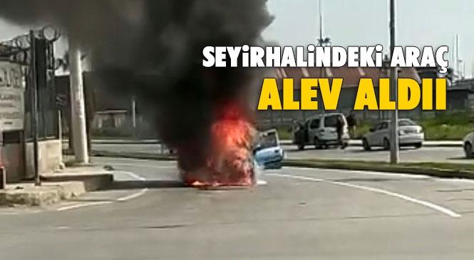 Alev Alan Araç Hurdaya Döndü! Mersin'de Pazar Günü Yaşanan Olayda Seyir Halindeki Otomobil Alev Alarak Yandı
