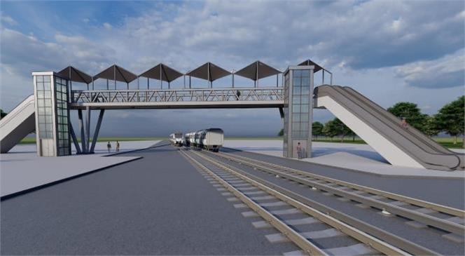 Tarsus Sunay Atilla Üst Geçiti'ne, Çift Taraflı Yürüyen Merdivenli ve Asansörlü Yaya Geçidi Yapılıyor