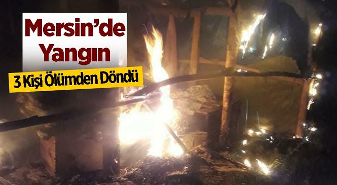 Mersin'in Erdemli İlçesinde Çıkan Çatma Yangınında Faciadan Dönüldü! Dumanların Fark Edilmesiyle 1'i Çocuk 3 Kişi Alevlerin Arasından Kurtuldu