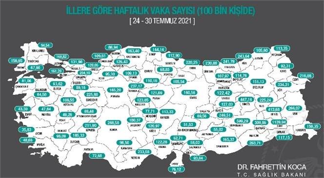Sağlık Bakanı Fahrettin Koca 100 Bin Nüfusa Karşılık Gelen Haftalık Vaka Haritasını Paylaştı