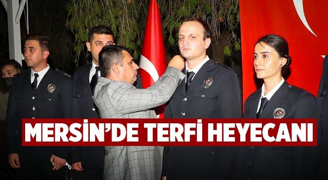 Mersin'de Terfi Heyecanı! İl Emniyet Müdürü Mehmet Aslan Rütbesi Yükselen Personelleri Tebrik Etti