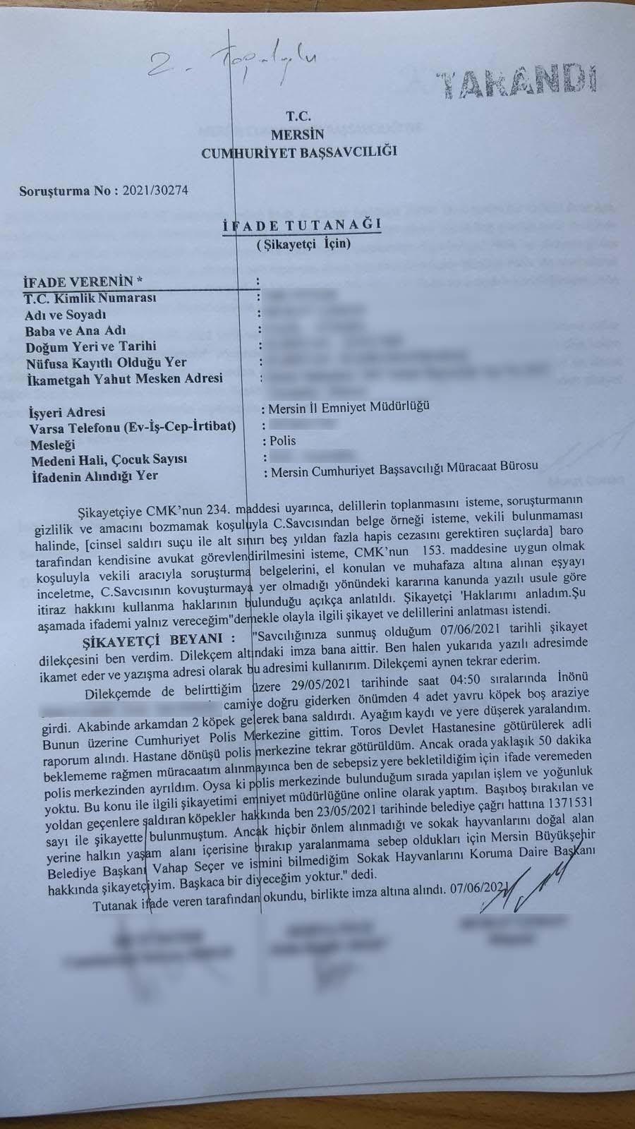 Başkan Vahap Seçer, Köpeklerin Saldırısına Uğrayan Bir Polis Memurunun Şikayeti Sonrası İfade Verdi