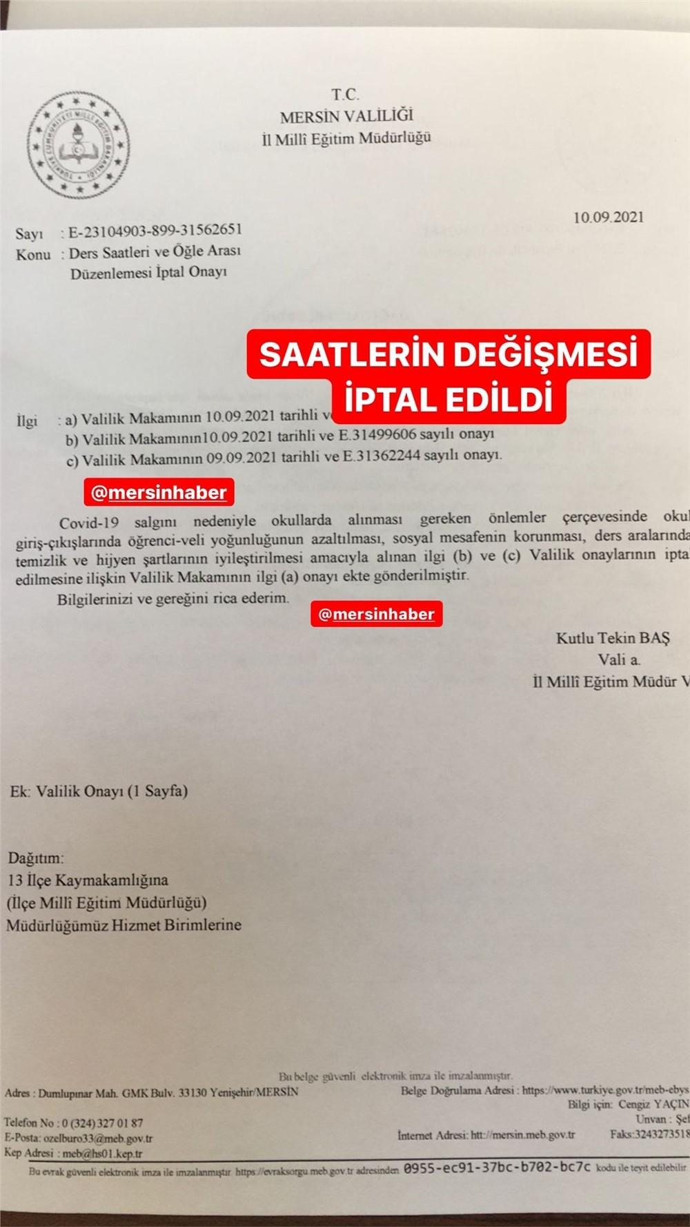 Mersin'de Okul Ders ve Öğle Tatili Saatleri Değişmesi Kararı İptal Edildi