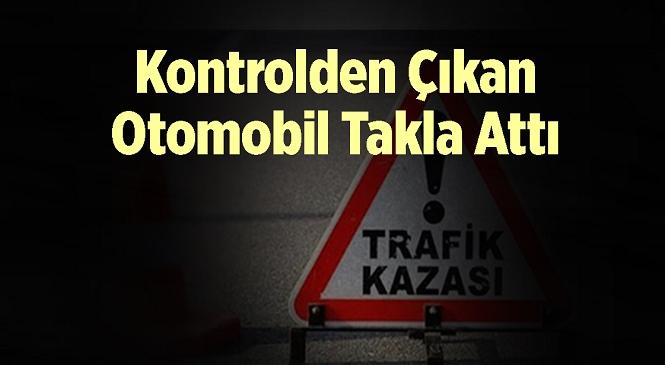 Mersin'in Tarsus İlçesinde Meydana Gelen Kazada Direksiyon Hakimiyetini Kaybeden Otomobil Takla Attı