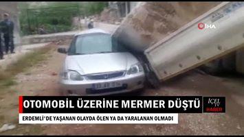 Video Haber: Şehrin İçinde Otomobilin Üzerine Dev Mermer Düştü
