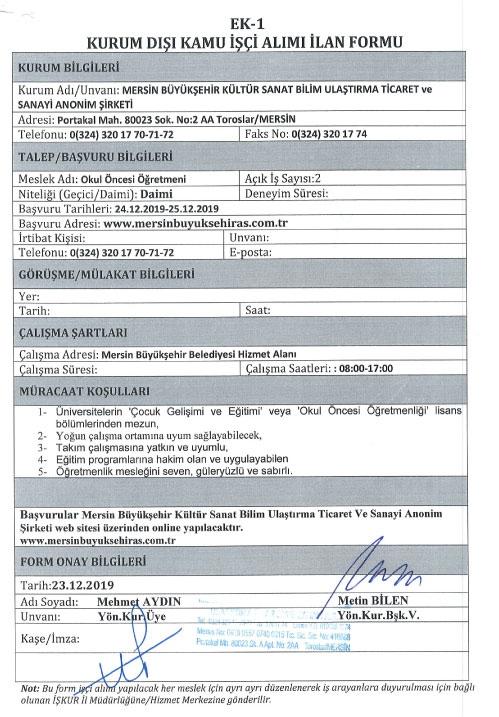 Mersin Büyükşehir 2 Personel Alacak: Son Başvuru 25 Aralık 2019