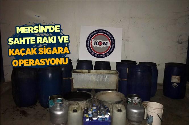 Mersin'de Sahte Rakı ve Kaçak Sigara Operasyonu