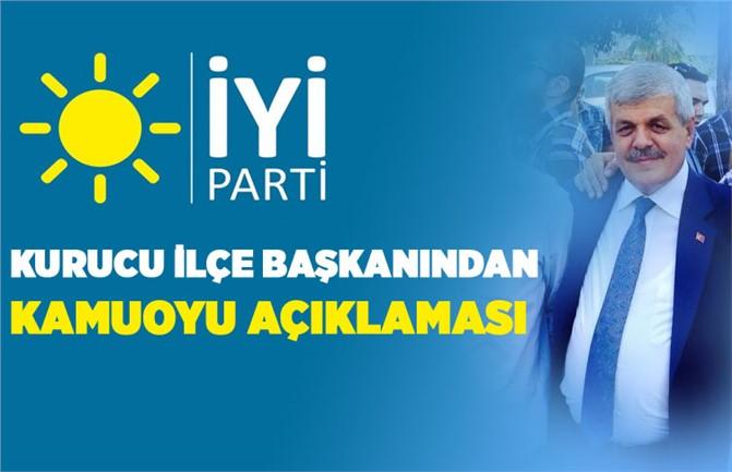 """İYİ Parti Tarsus İlçe Kurucu Başkanı M. Tekin Çelik'in """"Kamuoyu Açıklaması"""""""