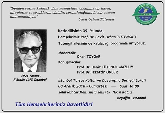 Tarsuslu Prof. Dr. Cavit Orhan Tütengil, katledilişinin 39. yıl dönümünde anılacak
