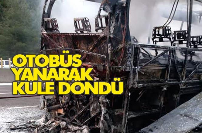Pozantı Tarsus TEM Otoyolu Sarışıh Mevkiinde Seyreden C.G İdaresindeki 01 ENY 74 Plakalı Bir Yolcu Otobüsünün Motor Aksamından Yangın Çıktı