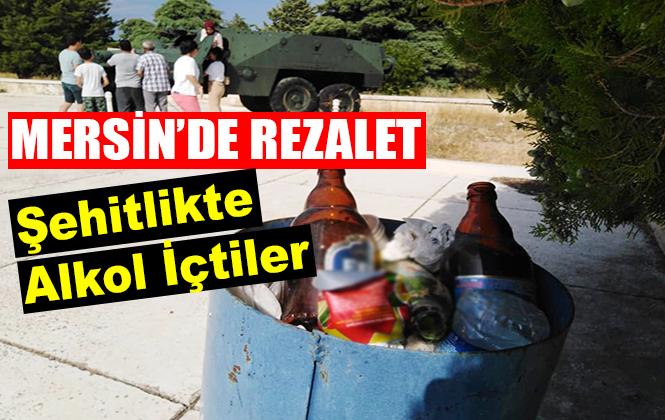 Mersin Silifke'de Kıbrıs Barış Harekatı Şehitliğinde İçki İçtiler