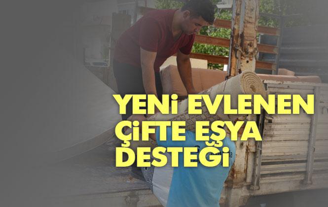 Mersin'de Yeni Evlenen Çifte Eşya Desteği; Gülnar Belediyesi Çanakkale Şehitleri Giyim-Gıda Yardımlaşma Bankasından Eşya Desteği