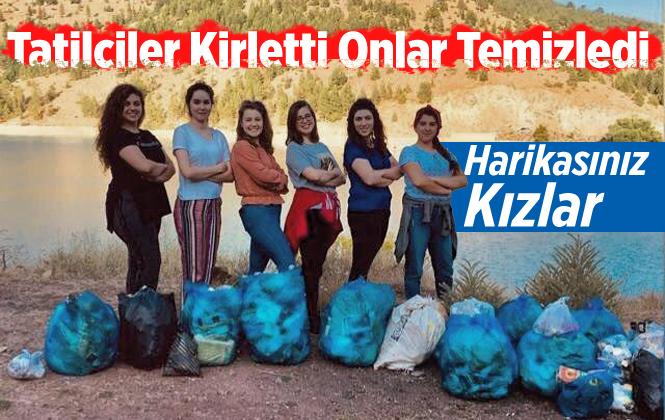 Mersin'de Tatilcilerin Kirliği Bıraktığı Gölet Çevresini Bir Grup Kız Temizledi