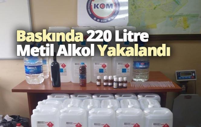 Mersin Tarsus't Polis Ekiplerinin Medikal Sağlık Ürünleri Satan Bir Firmaya Yaptığı Baskında 220 Litre Metil Alkol Yakalandı