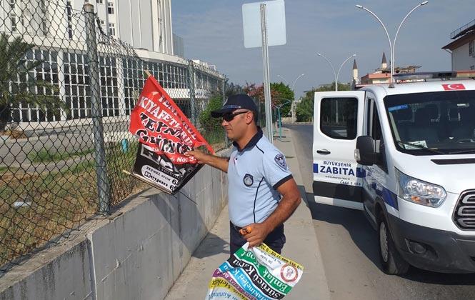 Mersin'de Kent Estetiğini Bozan Afiş ve Pankartları Toplanıyor, Gelişigüzel Asılan Afiş Ve Pankartlara İzin Yok