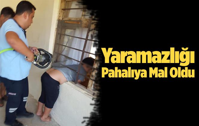 Mersin Silifke'de Pencere Parmaklıklarına Sıkışan Çocuğu İtfaiye Kurtardı