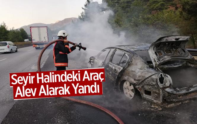Mersin Tarsus'ta Seyir Halindeki Otomobil Alev Alarak Yandı