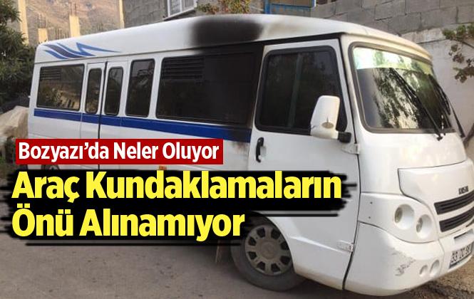 Mersin Bozyazı'da Öğrenci Minibüsü Kundaklandı