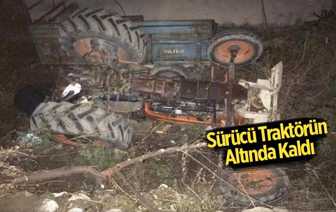 Mersin Erdemli'de Traktör Devrildi