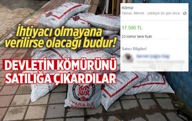 Mersin Tarsus'ta Ücretsiz Dağıtılan Kömürleri İnternette Satışa Çıkardı
