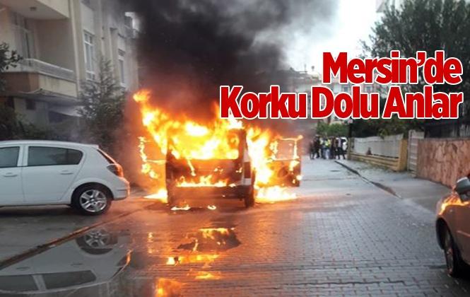 Mersin Tarsus'ta Bir Araç Tamamen Yandı