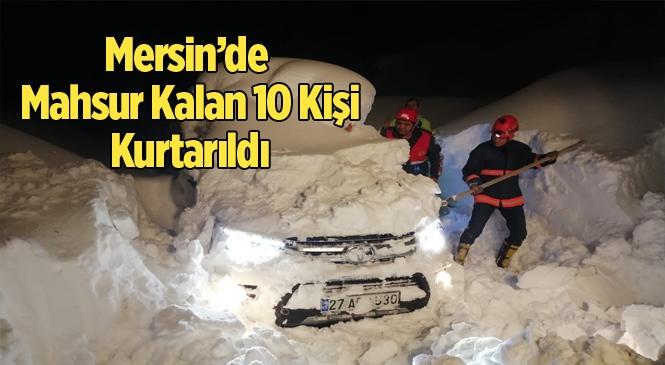 2 Metrelik Karda Mahsur Kalan 10 Kişi Kurtarıldı
