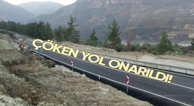 Mersin'de Heyelan Nedeniyle Çöken Silifke - Mut Karayolu Onarılarak Yeniden Trafiğe Açıldı