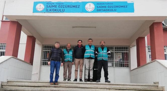 Tarsus Denetimli Serbestlik Yükümlüleri Kamu Hizmeti Kapsamında Okulların Temizliğini Gerçekleştirdi