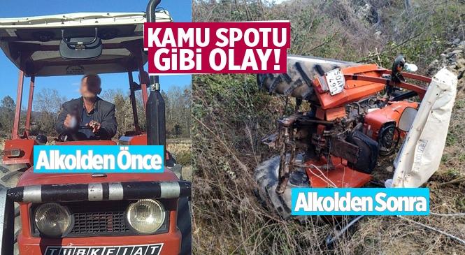 Sosyal Medyada Canlı Yayında Göbek Atan Halil Akçay Traktörle Uçuruma Yuvarlandı