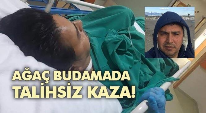 Mersin Anamur'da Spiral Taşlama Makinesi İle Ağaç Budamaya Çalışan Bir Kişi Kendini Yaraladı