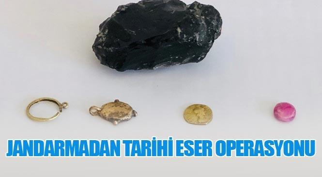 Mersin'de Sikke ve Çerçevesi, Obsidiyen Volkanik Cam İle Etnografik Taş Ele Geçirildi