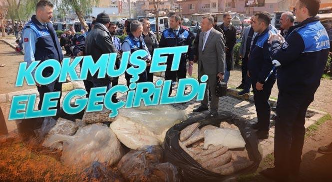Akdeniz Zabıtası, 91 Kilo Kokmuş Et Ele Geçirdi! Bozuk Etleri Semt Pazarında Vatandaşlara Satmak İsteyen Kişi Hakkında İşlem Yapıldı