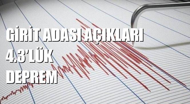 Merkez Üssü Girit Adası Açıkları (Akdeniz) Olan 4.3 Büyüklüğünde Deprem Meydana Geldi