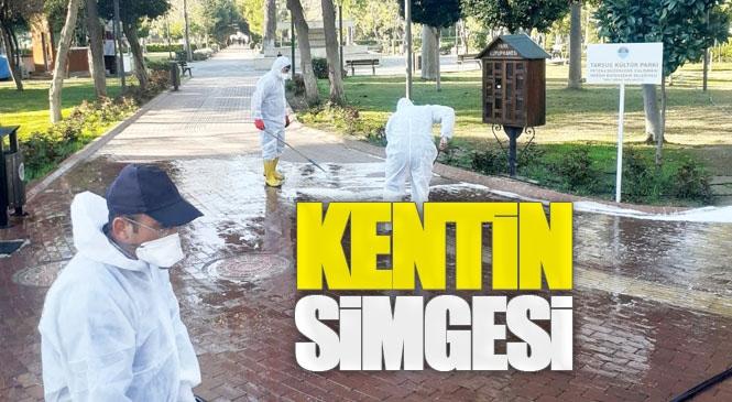 Tarsus'un Simgelerinden Kültür Park'ta Mersin Büyükşehir Belediyesi Tarafından Dezenfekte Çalışması Yapıldı