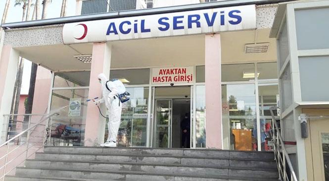 Tarsus'taki Sağlık Merkezleri Sürekli Olarak Dezenfekte Ediliyor