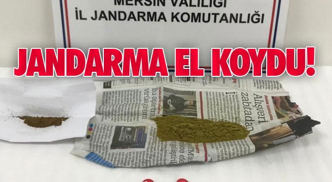 Mersin Silifke Atayur'ta Bir Şahısın Üzerinden Çıkan Extacy Hapa ve Toz Esrara Jandarma Tarafından El Koyuldu