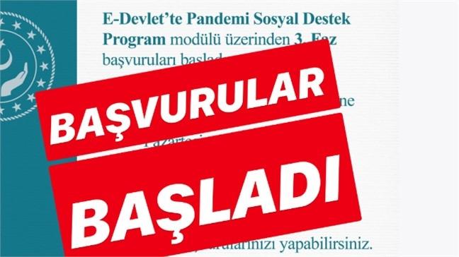 1.000 Lira Tutarındaki Sosyal Destek Ödemelerinin 3. Faz Başvuruları Başladı