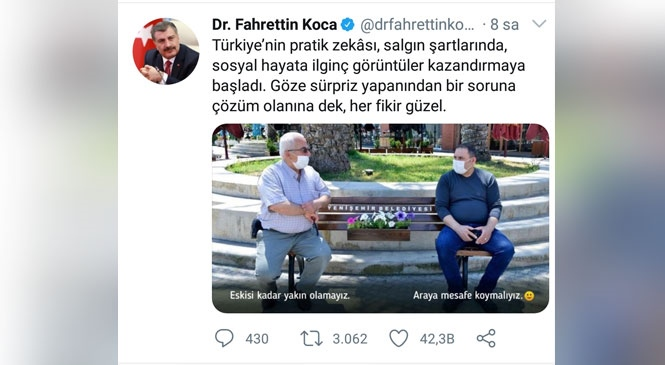 Sağlık Bakanı Dr. Fahrettin Koca'dan Mersin Yenişehir Belediyesinin Uygulamasına Sosyal Medya Paylaşımıyla Destek