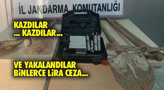 Mersin Yenişehir Turunçlu Mahallesinde İzinsiz Kazı Yapan Şahıslar Jandarma Ekiplerince Suçüstü Yakalandı