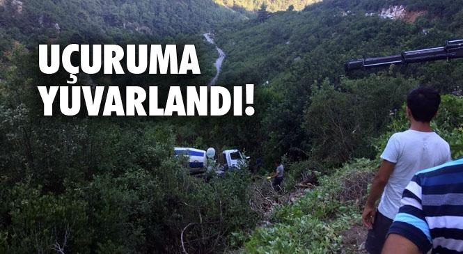 Mersin Tarsus Yalamık Mahallesinde Meydnaa Gelen Kazada Beton Mikseri Uçuruma Yuvarlandı!