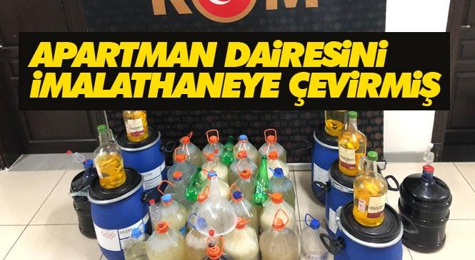 Mersin Polisi Mezitli'de Bir Apartman Dairesinde Sahte İçki Üreten Yabancı Uyruklu Şahsa Operasyon Düzenledi