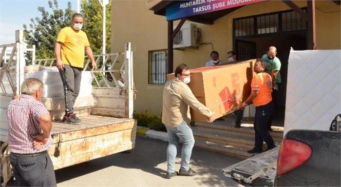 Tarsus ve Çamlıyayla'da Evleri Yanan 8 Aileye Eşya Yardımı Yapıldı
