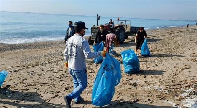 Kazanlı Sahili Temizlendi! Koruma Altında Olan Caretta Caretta ve Yeşil Deniz Kaplumbağalarının da Yuvalama Alanı