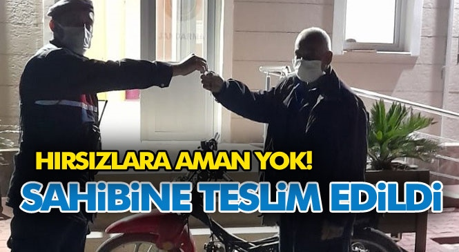 Mersin'de Jandarma Ekiplerince 76 Saatlik Güvenlik Kamerası Kayıtları İzlenerek Çalınan Motosiklet Bulundu ve Sahibine Teslim Edildi