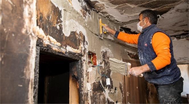Küçükaslan Ailesinin Evinde Yangının İzleri Siliniyor! Mersin'de Yangın Mağduru Ailenin Yuvaya Dönüşüne Kısa Süre Kaldı