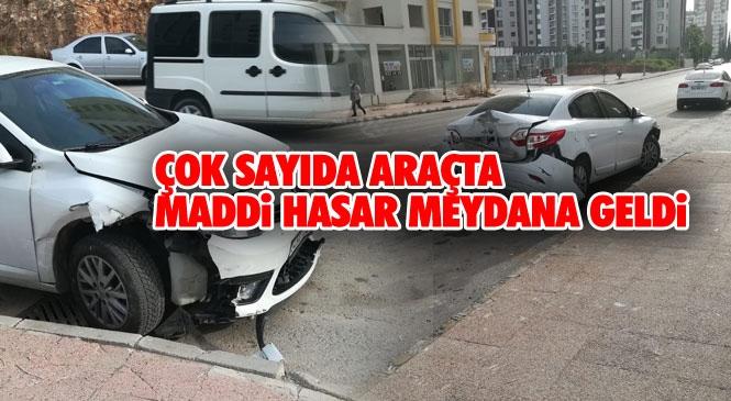 Zeytinlik Caddesi Üzerinde Meydana Gelen Kazada Belediye Otobüsü ve Çok Sayıda Araçta Maddi Hasar Meydana Geldi