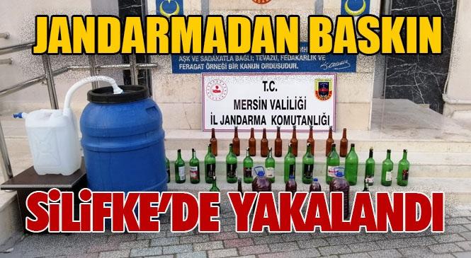 Mersin Silifke'de Jandarma, Sahte Alkollü İçki Üretimi Yapılarak Piyasa Sürülen Eve Baskın Yaptı
