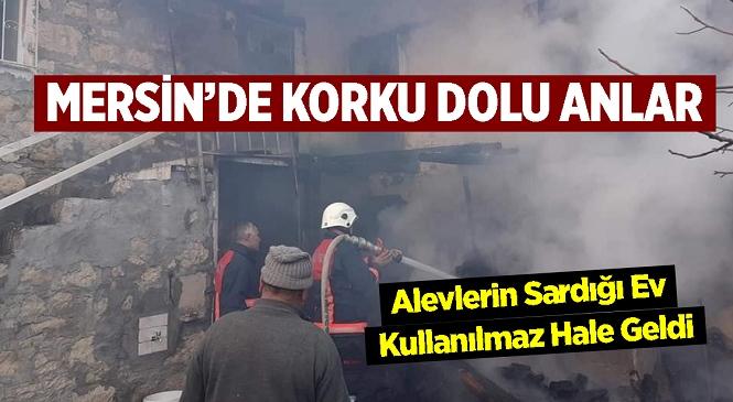 Mersin'in Gülnar İlçesi Konur Mahallesinde Ev Yangını