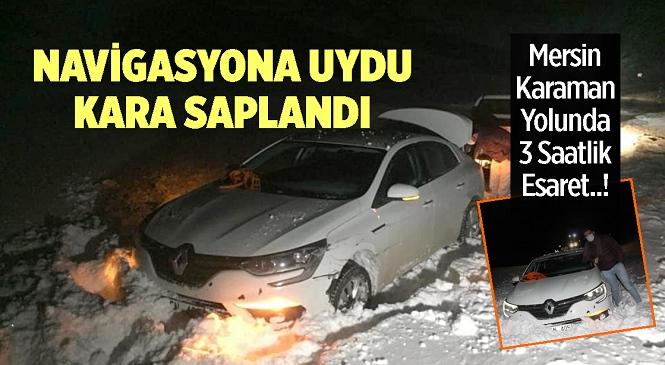 Mersin'den İzmir'e Gitmek İsterken Navigasyonun Yönlendirdiği Ayrancı Yoluna Giren Musa Sekman Karda Mahsur Kaldı