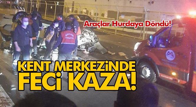 Mersin Kent Merkezinde Meydana Gelen Zincirleme Kazada Araçlar Hurda Yığınına Döndü